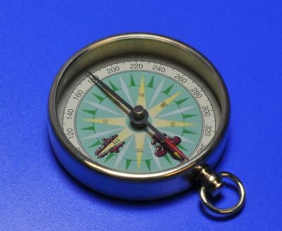 Nautical Compass Cut Glass Brass Finish Vintage Beautiful For Gift