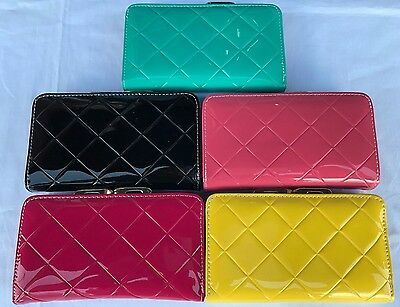 Ladies Girls Patent  Leather  Purse Credit Card Holder Large Coin Purse