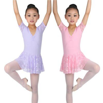 Kids Girl Ballet Dance Dress Bodysuit Leotard Tutu Skirt Party Dancewear Costume