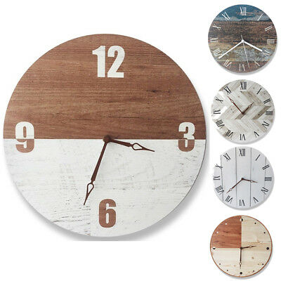 Vintage Wood Wall Clock, Retro Non-ticking Silent Wooden Wall Clock Home Decor