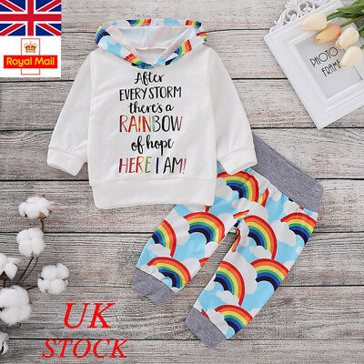 UK Baby Boy Girl Rainbow Outfits Set Newborn Infant Kids Clothes Romper Top Pant
