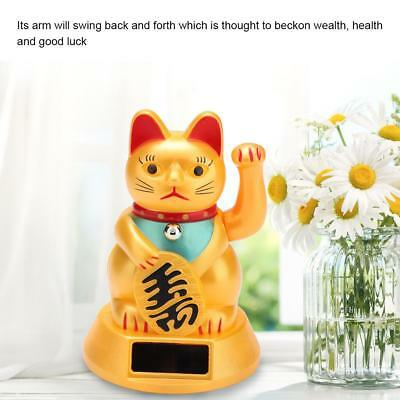 Solar Powered Welcoming Waving Beckoning Fortune Lucky Cat Home Stores Car Decor