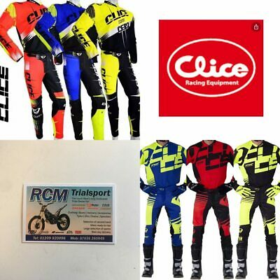 Clice Trials Bike Mtb Top Bottom Set Riding Kit Clothing Red Blue Black Yellow