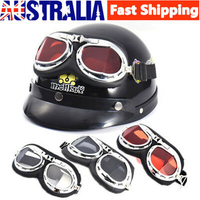 AU Motorcycle Pilot Open Face Retro for Harley style Half Helmet Vintage Goggles