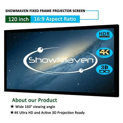 "120"" 16:9 Fixed Frame Projector Screen Home Theatre HD 3D 4K Projection 105 x 59"
