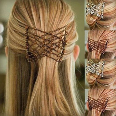 Stretchable Women Hair Slide Easy Double Beads Stretchy Hair Comb Clip Hairpin