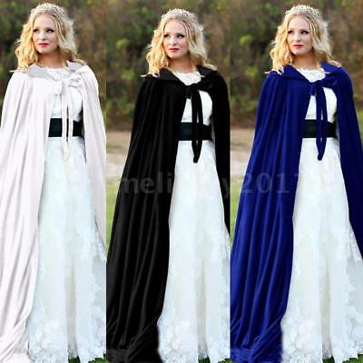 Adult Kids Halloween Party Costume Vampire Witch Velvet Cape Hooded Cloak L7W5
