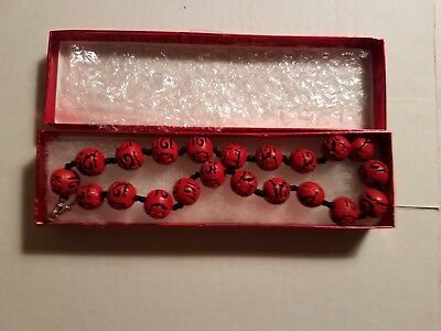 """CINNABAR NECKLACE. VINTAGE. HAND CARVED. Hand knotted. 18"""", 21 beads"""