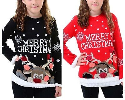 Children Kids Girls Long Sleeve Rudolph Merry Christmas Unisex Girls Boys Jumper