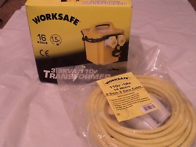 WORKSAFE 3.3KVA 110V TRANSFORMER PLUS 14M 2.4mm 3 CORE CABLE