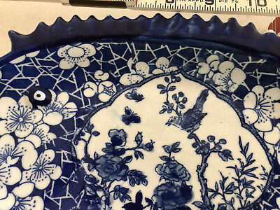 Antique Chinese Porcelain Plate Fish Platter Daoguang Blue White Magpie