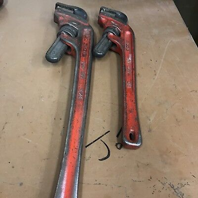 Ridgid Offset Pipe Wrench E18 And E24 One Each.  Monkey Wrench Offset Ridgid