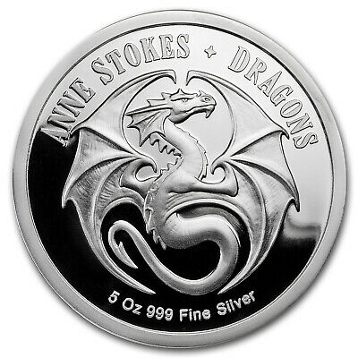 5 oz Silver Colorized Round Anne Stokes Dragons (Kindred Spirits) - SKU#172504