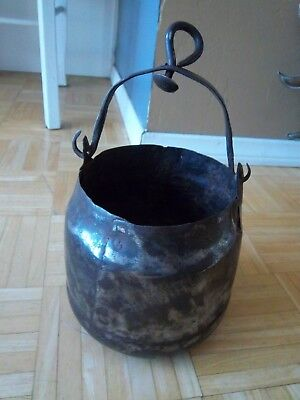 "Antique Primitive Large Hand Forged Pot Kettle With Handle 7.5""H x 7""D"
