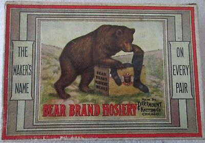 Vintage Advertising Bear Brand Hosiery Box with scarce story insert early 1900's