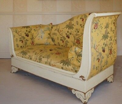 Fine Empire Style French Chaise (Drop Ended) In Colony's Antique Gold Upholstery