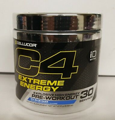 12-Cellucor C4 Extreme Energy 30 Servings Icy Blue Razz Explosive Pre Workout