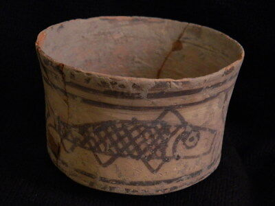 Ancient Large Size Teracotta Painted Pot With Fishes Indus Valley 2500 BC #CCH3
