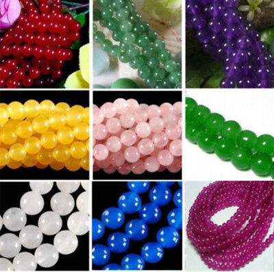 """4- 10mm Smooth Natural Round Jade Jewelry Making Loose Gemstone Beads 15""""AAA"""
