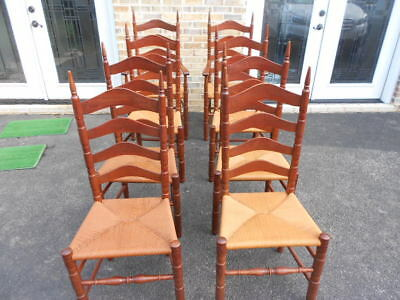 Cherry Ladder Back Dining Room Cane Bottom Chairs Set Of 8