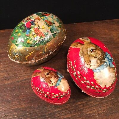 Antique Easter Eggs Nesting German Lithograph Candy Containers PRIORITY MAIL
