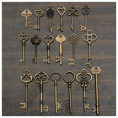 Set Of 18 Antique Vintage Old Look Bronze Skeleton Key Heart Bow Lock Pendant L