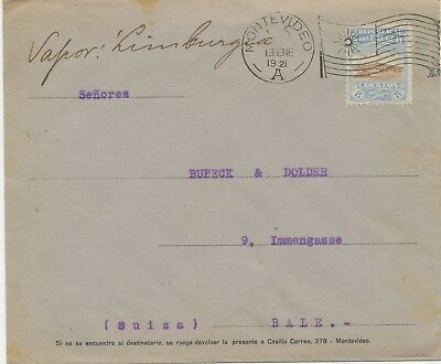 URUGUAY 1921 8C Port of Montevideo as single postage VF cover with FLAG postmark