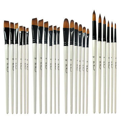 6Pcs/Set Wooden Paint Brushes For Artists Watercolor Acrylic & Oil Painting