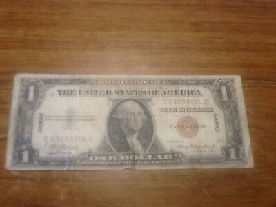 1935 A $1 Dollar Bill Wwii Hawaii Silver Certificate Brown Seal Note