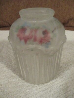 Antique Frosted Embossed Glass Reverse Hand Painted Lamp Shade