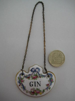 Vintage Crown Staffordshire China Porcelain Decanter Label Gin Name Tag Roses