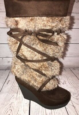 BROWN WOMEN BOOTS Eskimo Style With Wedge Heel Size 10 Cut