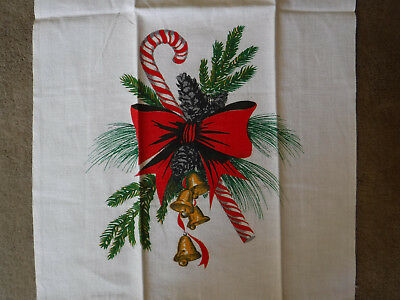 Vintage Christmas Linen Tea Towel Candy Cane Bells & Pine Cone Parisian Prints