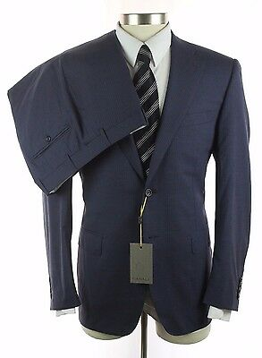 New CANALI 1934 Grey Blue Stripe Wool 2Btn Flat Front Suit 50 40 40R NWT $2195