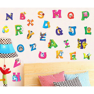 Alphabet U0026 Animals Vinyl Mural Wall Stickers Baby Kids Room Decals Decor  New E