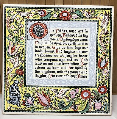 "Vintage Christian Ceramic Tile Trivet ""The Lords Prayer"" Wall Plaque Shelton"