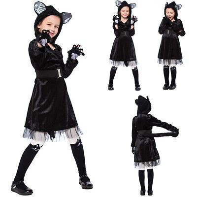 Cool Cat Girls Fancy Dress Halloween Kitten Kitty Hoodies Kids Childs Costume