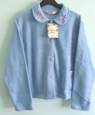 Ladies  Fleece Long Sleeved Blue Button Fronted Bed Jacket Size (12/14)