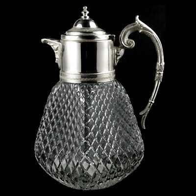Vintage Glass & Silver Plate Antique Style Claret Wine Jug Decanter Pitcher