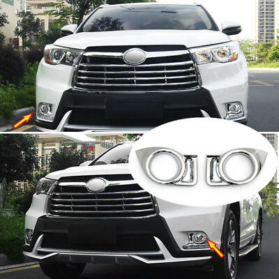 Chrome Front Fog Light Lamp Cover Trim For Toyota Highlander Kluger 2014-2016