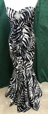 GORGEOUS!! CACHE BLACK & WHITE STRAPLESS MERMAID Sexy Prom Formal Dress SIZE 6