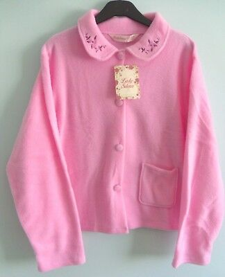 Ladies  Fleece Long Sleeved Pink Button Fronted Bed Jacket Size (12/14)