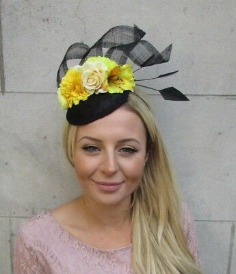 Black Yellow Rose Flower Feather Pillbox Hat Fascinator Races Wedding Hair 6358
