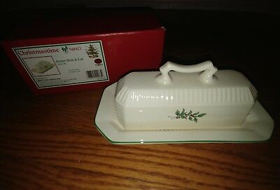 Nib Nikko Christmastime 2Pc Set Butter Dish & Lid Japan