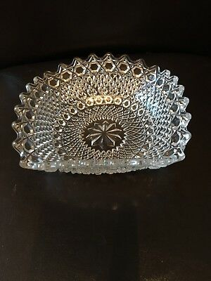 Beautiful Pressed Art Glass Square Basket Bowl And Matching Dishes