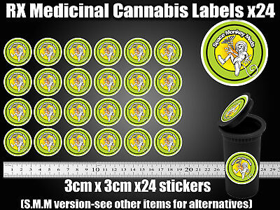 SPACE MONKEY Labels Stickers Dram pop top Medical TIN CAN JAR POT CALI