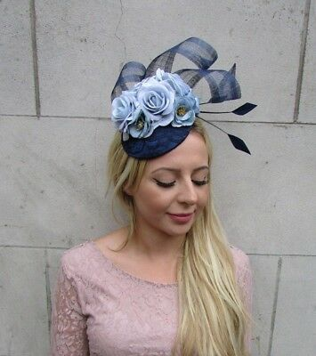 Navy Light Blue Flower Feather Pillbox Hat Fascinator Races Wedding Hair 6363