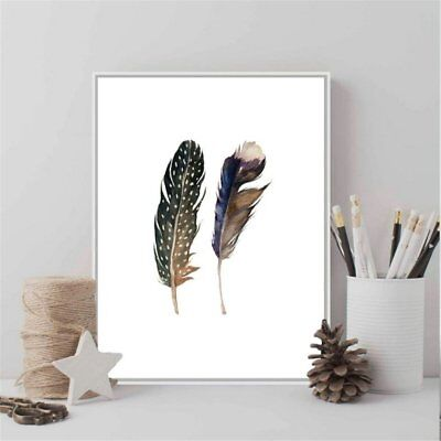 Framed Canvas Printed Feather Art Print Watercolor Painting Feather Wall Art AZ