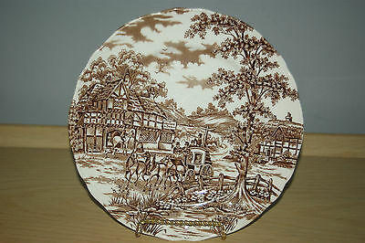 """Coaching Days Alfred Meakin Staffordshire England 10"""" inch dinner plate Engraved"""
