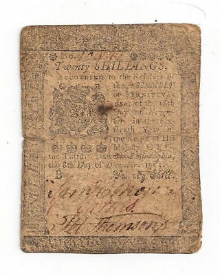 1775 Pennsylvania Colonial Currency Twenty Shilling Note
